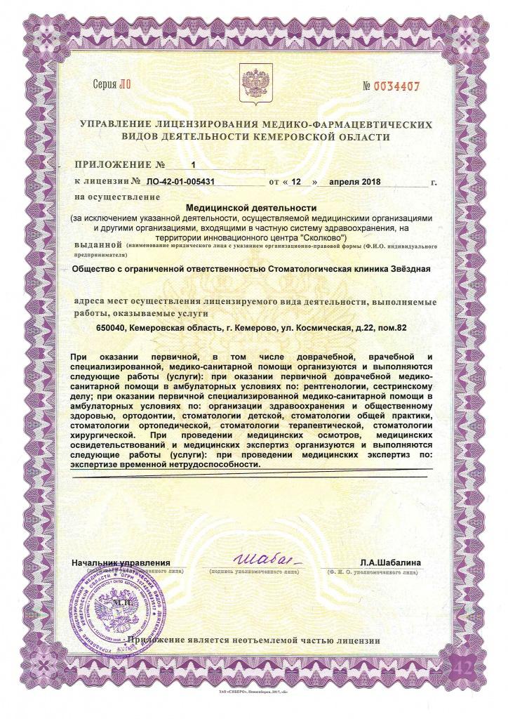 Лицензия стоматологии Кемерово
